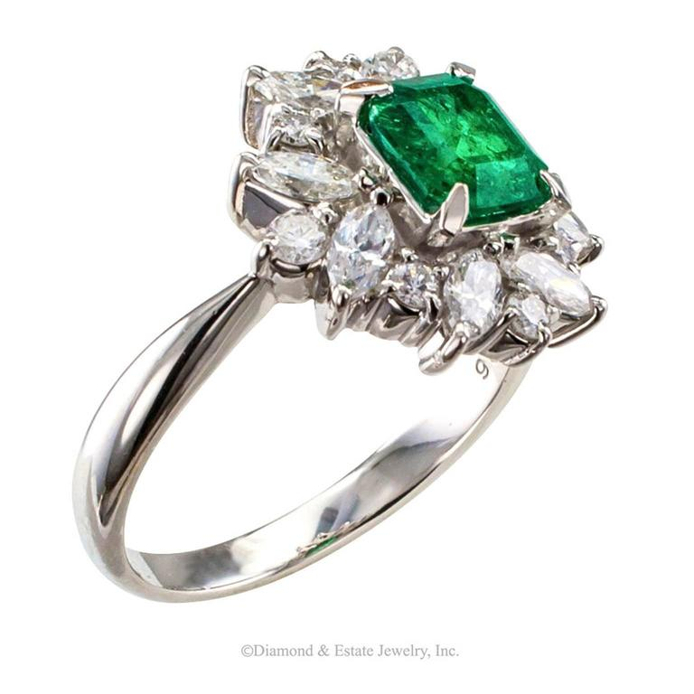 Square Emerald-Cut 0.89 Carat Emerald Diamond Platinum Ring 4