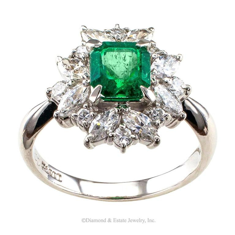 Square Emerald-Cut 0.89 Carat Emerald Diamond Platinum Ring 5