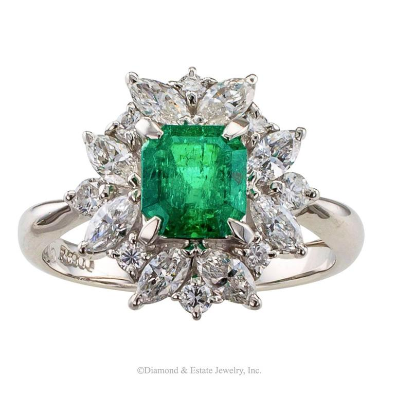 Square Emerald-Cut 0.89 Carat Emerald Diamond Platinum Ring 2