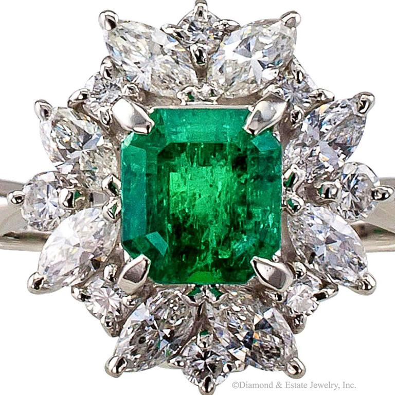 Square Emerald-Cut 0.89 Carat Emerald Diamond Platinum Ring 6