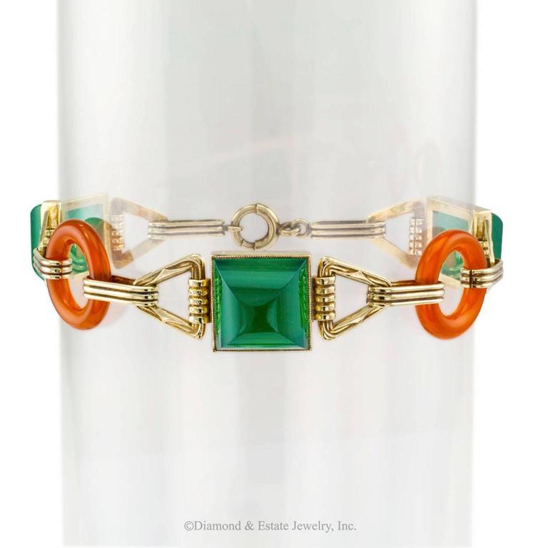 Art Deco 1930s Green Onyx Carnelian Gold Bracelet 2