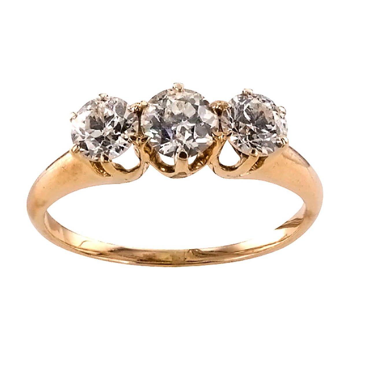 Victorian Three-Stone Diamond Gold Engagement Ring 1