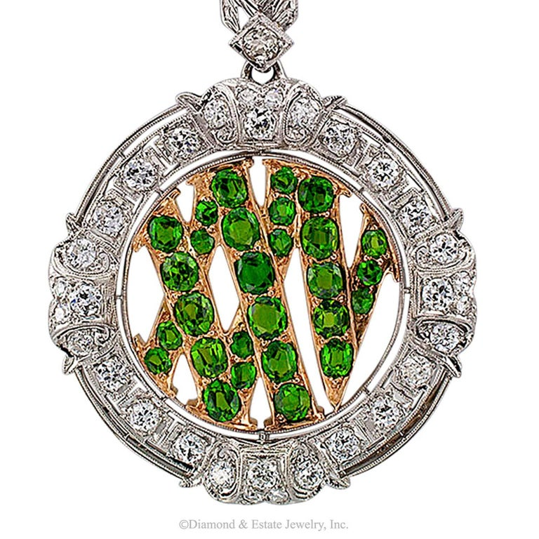 Demantoid Garnet Twenty Five Roman Numeral Diamond Platinum Gold Pendant 4