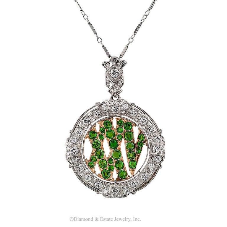 Art Deco Demantoid Garnet Twenty Five Roman Numeral Diamond Platinum Gold Pendant For Sale