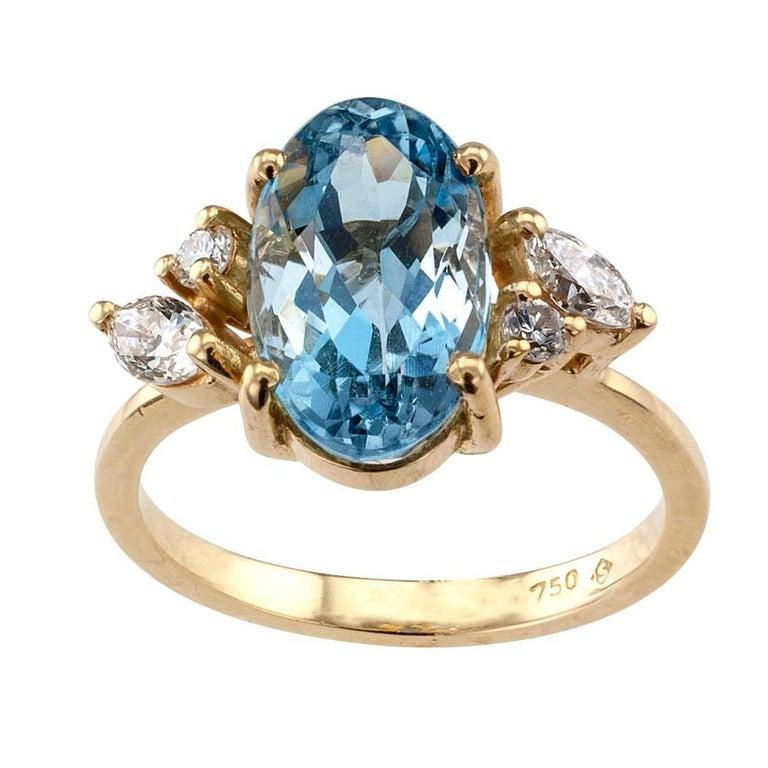 H Stern Aquamarine Diamond Gold Ring