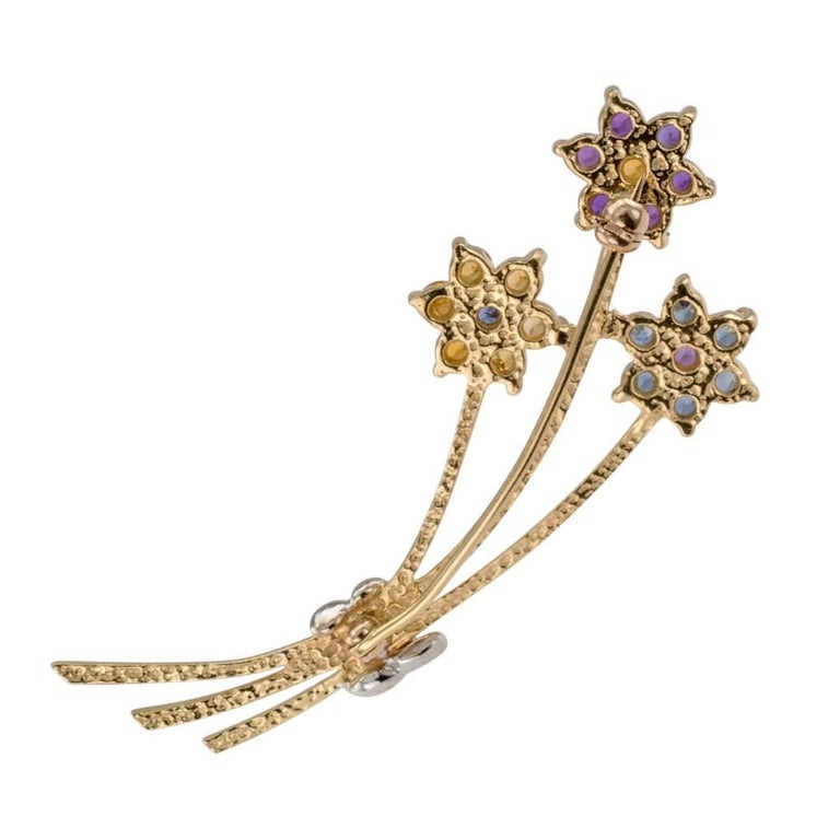 1970s Amethyst Citrine Sapphire Gold Bouquet Brooch 2