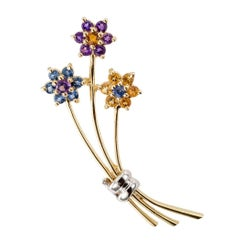 1970s Amethyst Citrine Sapphire Gold Bouquet Brooch