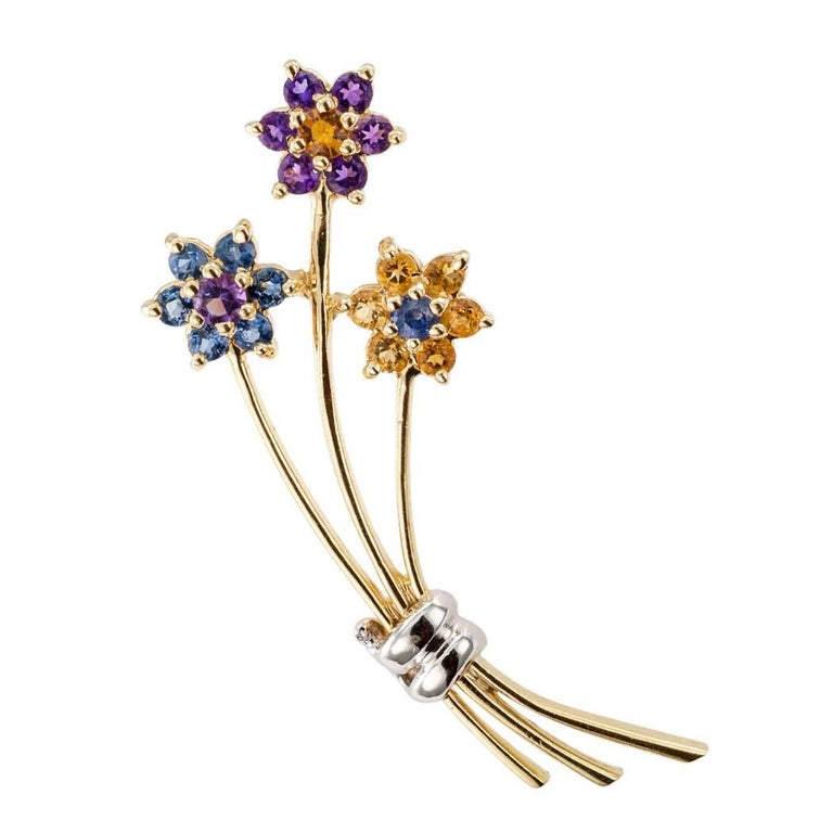 1970s Amethyst Citrine Sapphire Gold Bouquet Brooch 1