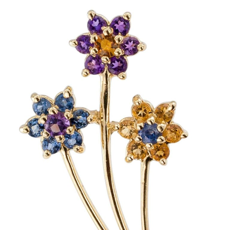 1970s Amethyst Citrine Sapphire Gold Bouquet Brooch 3