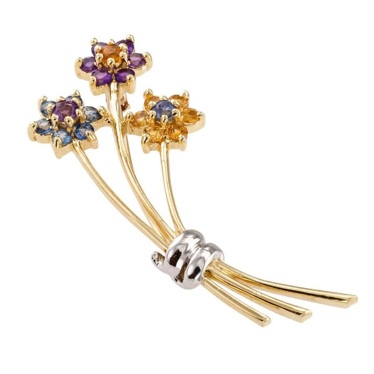 1970s Amethyst Citrine Sapphire Gold Bouquet Brooch 4