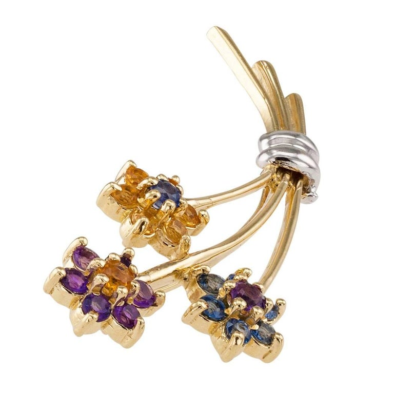 1970s Amethyst Citrine Sapphire Gold Bouquet Brooch 5