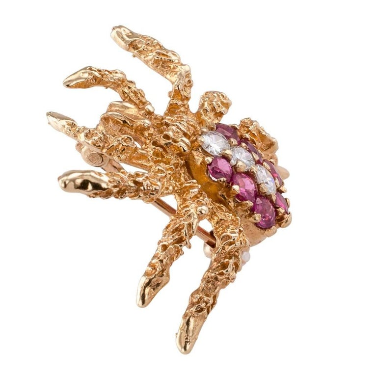 Contemporary Spider Brooch 1970s Ruby Diamond Gold For Sale