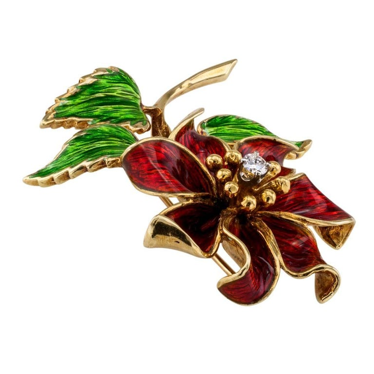 Women's Cartier 1970s Enamel Diamond Flower Brooch For Sale