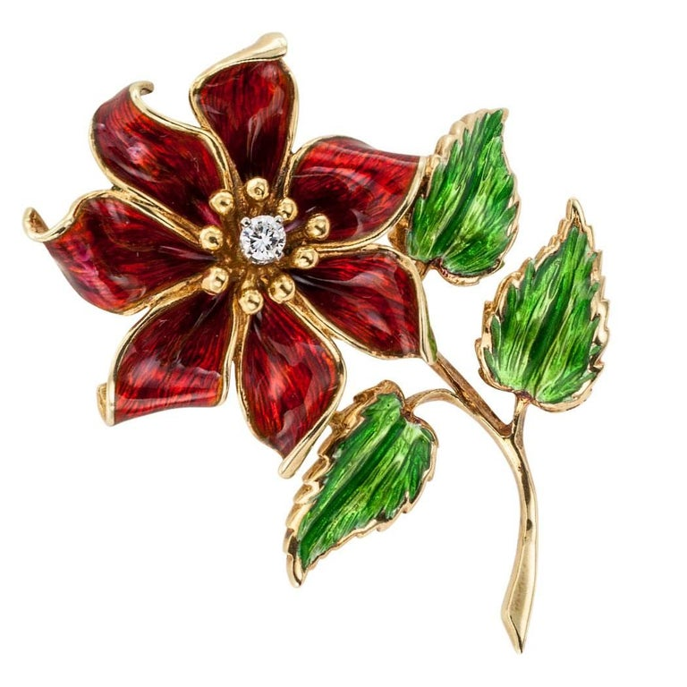 Modern Cartier 1970s Enamel Diamond Flower Brooch For Sale