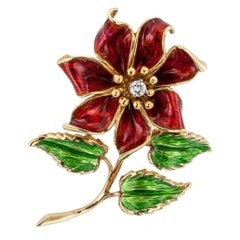 Cartier 1970s Enamel Diamond Flower Brooch