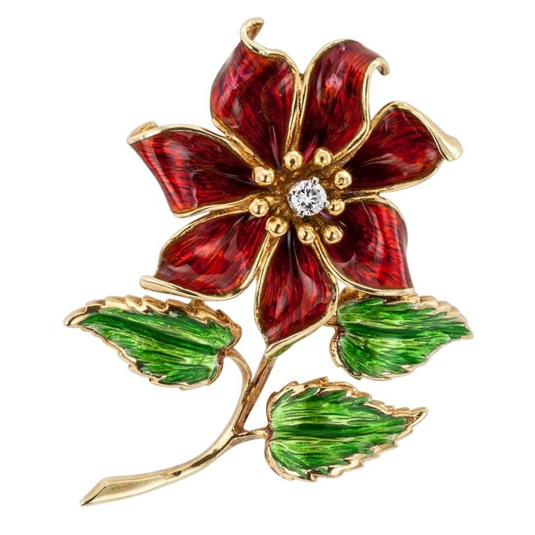 Cartier 1970s Enamel Diamond Flower Brooch For Sale