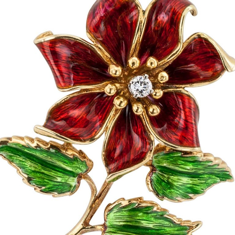 Cartier 1970s Enamel Diamond Flower Brooch For Sale 1