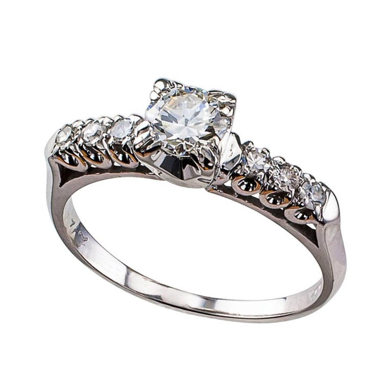 Midcentury 0.50 Carat Diamond Engagement Ring