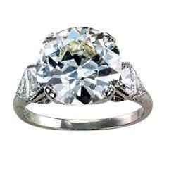 GIA 5.46 Carat Diamond Art Deco Engagement Ring