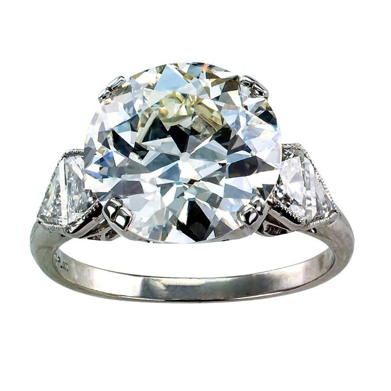 GIA 5.46 Carat Diamond Art Deco Engagement Ring For Sale