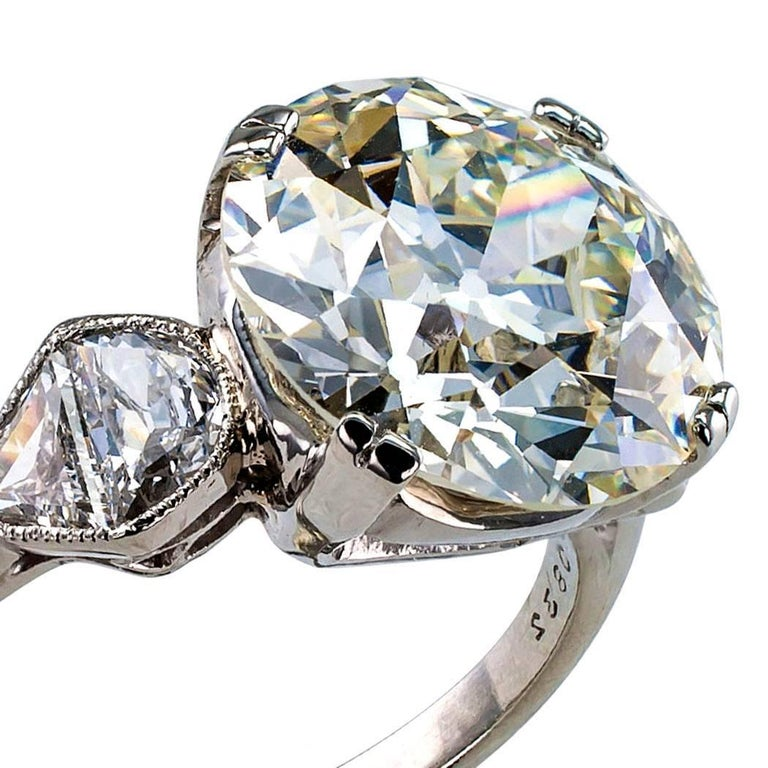 GIA 5.46 Carat Diamond Art Deco Engagement Ring For Sale 2