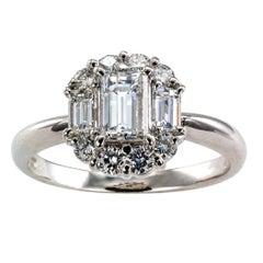Three-Stone Rectangular Diamond Platinum Engagement Ring