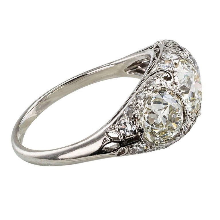 Women's Edwardian Old European Cut Three-Stone Diamond Platinum Ring For Sale