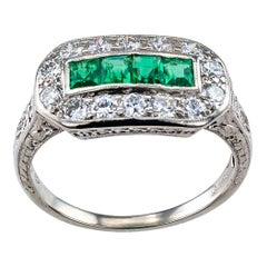 Art Deco 1925 Emerald Diamond Platinum Ring