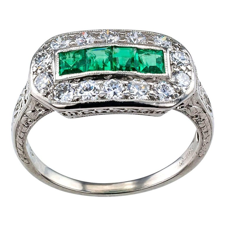 blue diamond wedding ring deco 1925 emerald platinum ring at 1stdibs 1925
