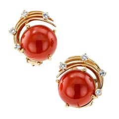 1960s Red Coral Diamond Gold Earrings