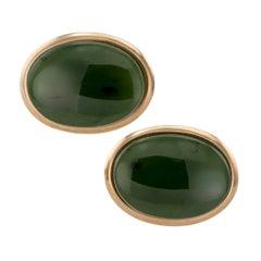 1950s Nephrite Jade Gold Cufflinks