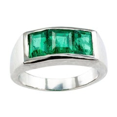 1940s Colombian Emerald Diamond Three-Stone Platinum Ring