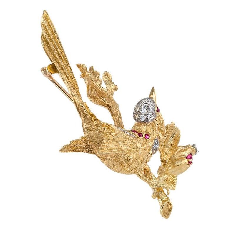 1960s Diamond Ruby Gold Bird Brooch For Sale 1