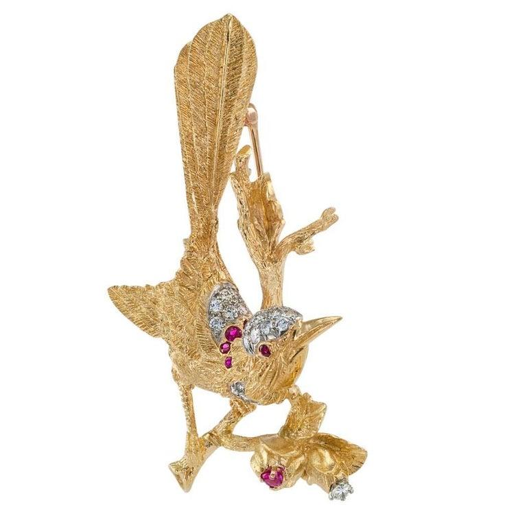 Modern 1960s Diamond Ruby Gold Bird Brooch For Sale