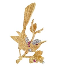 1960s Diamond Ruby Gold Bird Brooch