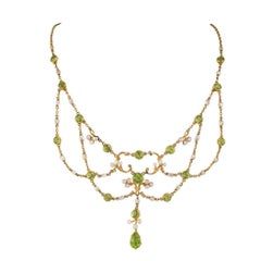 Art Nouveau Peridot and Pearl Festoon Gold Necklace