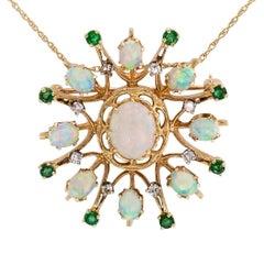 1960s Opal Emerald Diamond Gold Brooch Pendant
