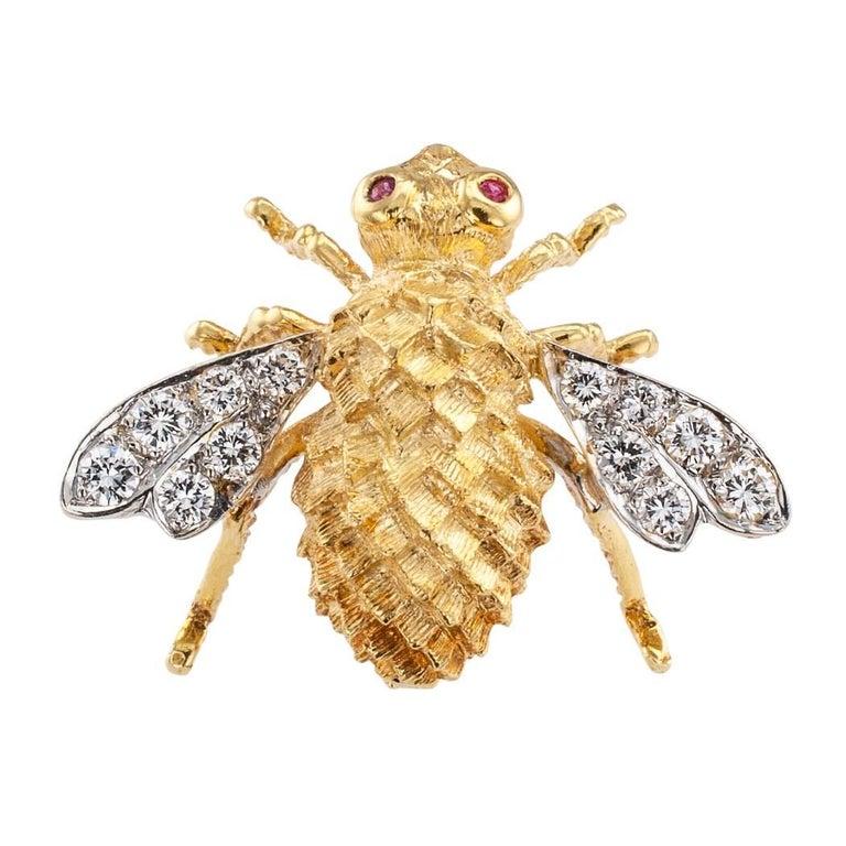 Rosenthal 1970s Honeybee Diamond Ruby Gold Brooch For Sale