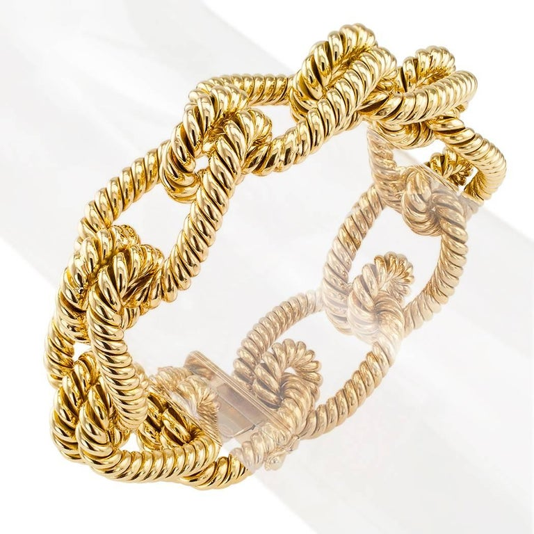 Modern 1970s Gold Knotted Rope Bracelet For Sale