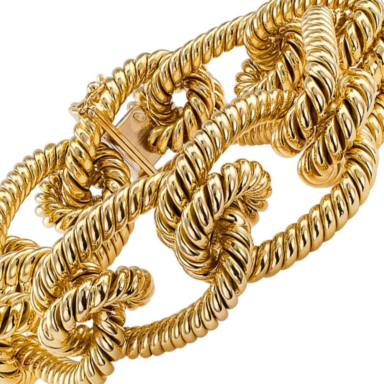 Women's or Men's 1970s Gold Knotted Rope Bracelet For Sale