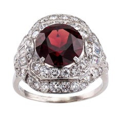 1930s Garnet Diamond Platinum Ring
