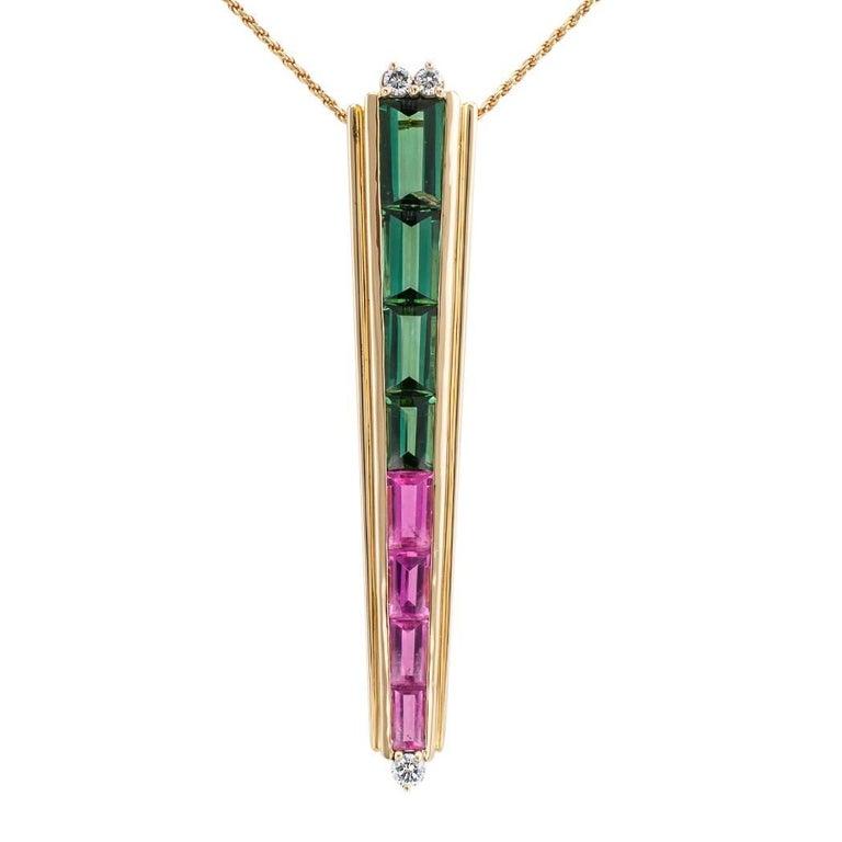 Munsteiner 1980s Tourmaline Diamond Gold Brooch Pendant