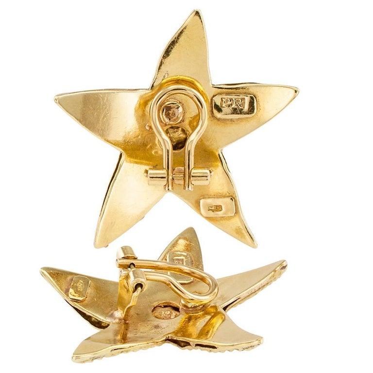 Artisan Sea Star Gold Ear Clips For Sale