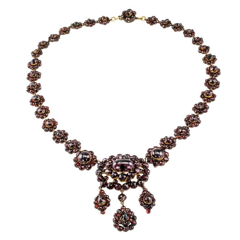 Victorian 1880s Garnet Necklace For Sale