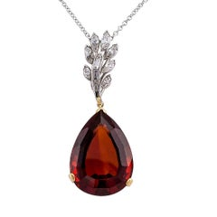 1960s Madeira Citrine Gold Platinum Diamond Pendant
