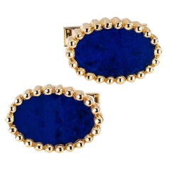 1970s Lapis Lazuli Gold Cuff Links