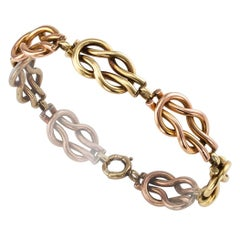 Retro 1940s Square Knot Bracelet Pink Green Gold