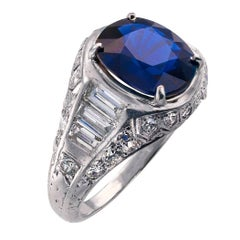 Burma No Heat 2.93 Carat Blue Sapphire Diamond Platinum Art Deco Ring