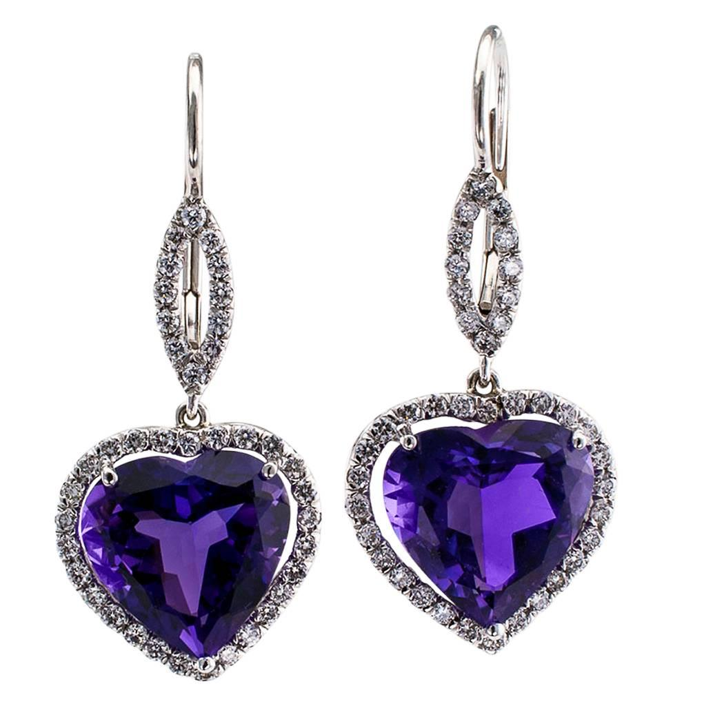 Heart Shaped Amethyst Earrings