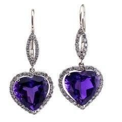Heart Shaped Amethyst Diamond Platinum Earrings